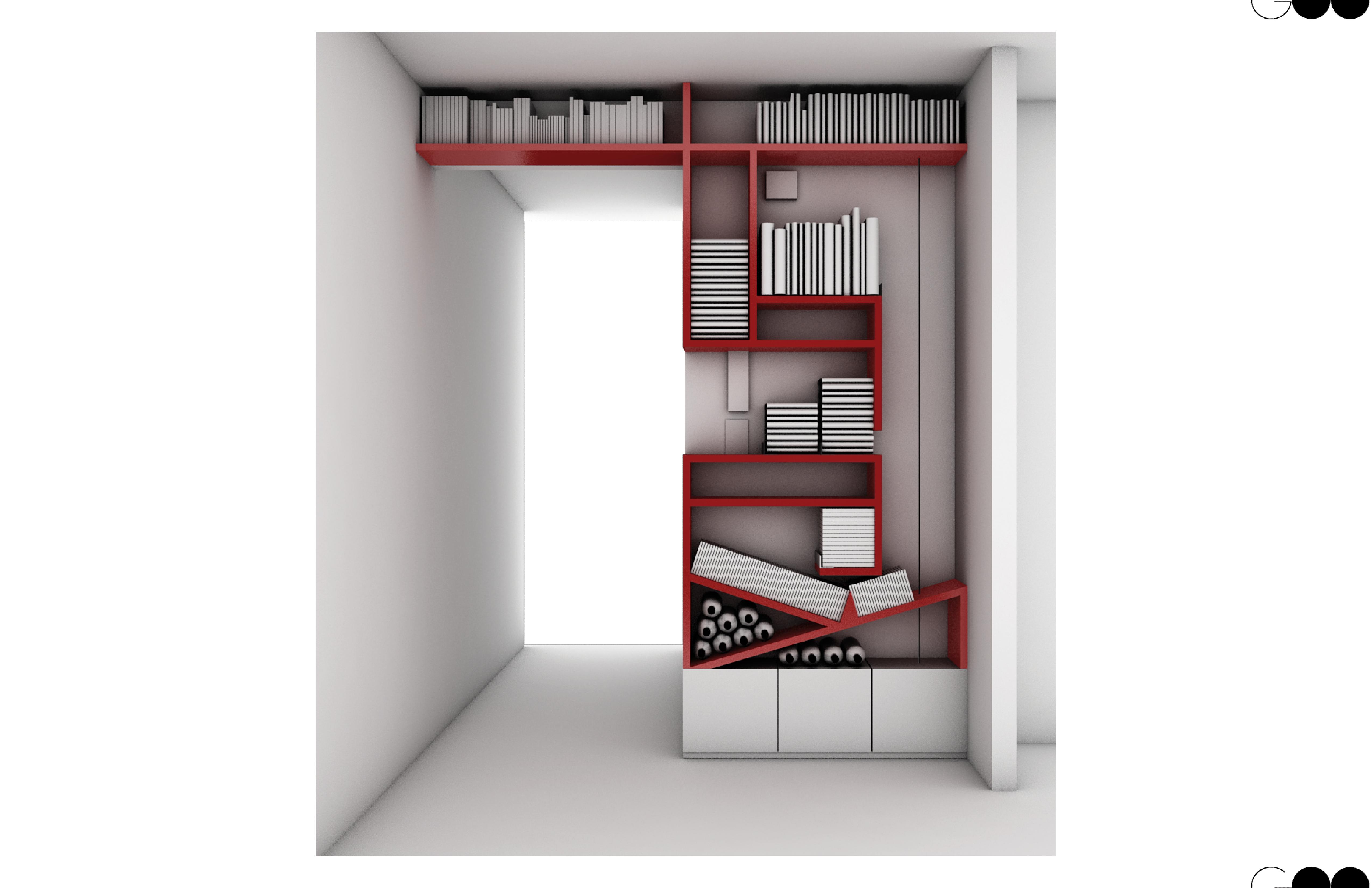 Librero perchero cava goo arquitectos - Muebles para cds madera ...